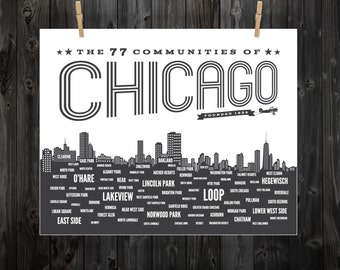 Chicago Neighborhood Poster, Chicago, Chicago Poster, Chicago Art, CHI, Chicago Neighborhoods, Chicago SIgn, Chicago Typography