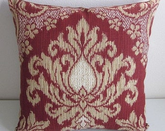 Waverly Bedazzle Indoor Outdoor Pillow Cover Sun And Shade Damask Pillow Ikat Woven Pillow Cover Brick Red