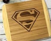 HUGE SALE Superman cutting board , man cave gift , unique mens gift , Clark Kent
