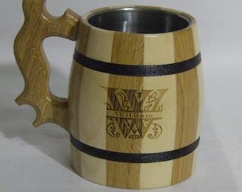 wooden Beer mug 0,8 l (27oz) ,Custom engraving, natural wood, stainless steel inside,groomsmen gift, n04