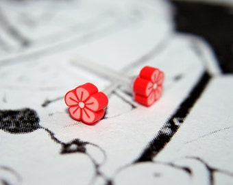 REDUCED Tiny Polymer Clay Red Flower Earrings - Perfect for kawaii lovers & flower fans!