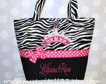 XL Quilted Zebra Print with Princess Crown Applique Diaper Bag / Purse / Tote