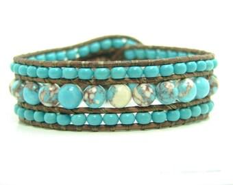 Beaded Leather Wrap Cuff Bracelet, Turquoise Blue Beaded Cuff Bracelet, Western Style Wrap Bracelet