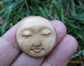 25mm Gorgeous Hand Carved Moon Face Closed Eye , Embellishment, Moon face cameo,  Bone Carving B4993