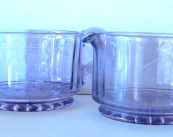 Amethyst Glass Creamer and Sugar with Cut Grape Clusters Pattern