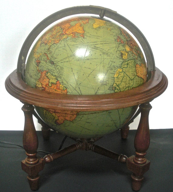 World Globe Lamp 1930s Glass Pre Wwii Vintage Illuminated