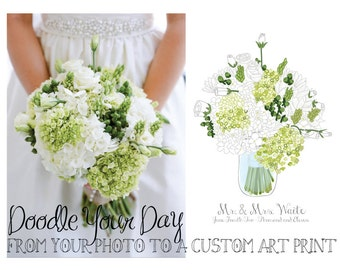 CUSTOM Wedding Bouquet Doodle