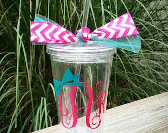Bow Monogram Straw Tumbler Acrylic Cup