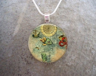 Map Jewelry - Glass Pendant Necklace - Map 23