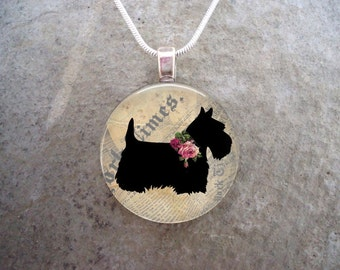 Celtic Jewelry - Dog Jewellery - Glass Pendant Necklace - Scottie Dog 2 - RETIRING 2017