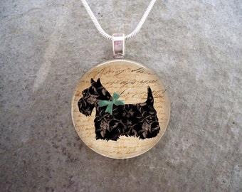 Celtic Jewelry - Dog Jewellery - Glass Pendant Necklace - Scottie Dog 5 - RETIRING 2017