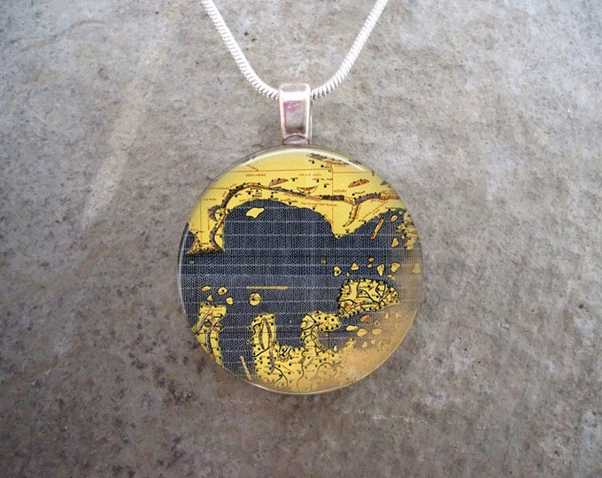 Map Jewelry - Glass Pendant Necklace - Map 3 - RETIRING 2017