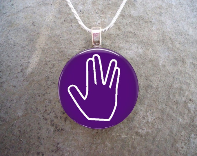 Star Trek Jewelry -  Live Long And Prosper - Glass Pendant Necklace - LLAP on Violet - RETIRING 2017