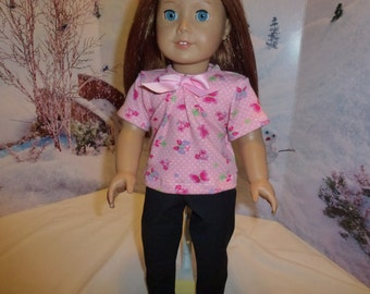 """18"""" Doll Cotton Knit Top & Black Pants for 18""""American Girl  Madame Alexander Gotz  Our Generation 18""""Journey and other 18"""" dolls"""