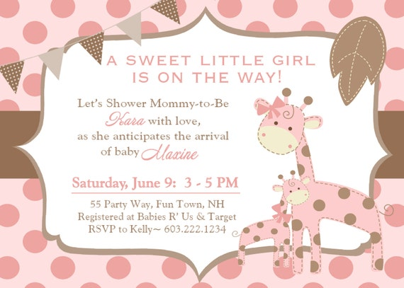 giraffe baby shower invitation girl invitation giraffe baby, Baby shower