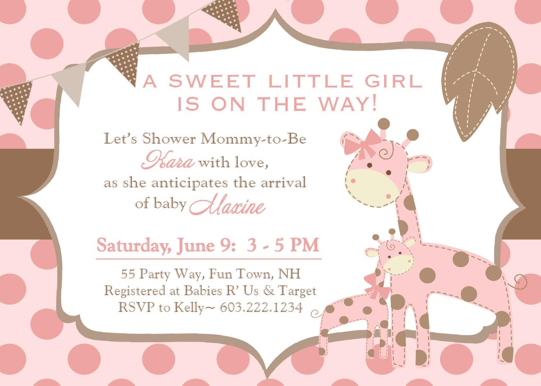 giraffe baby shower invitation girl invitation giraffe baby