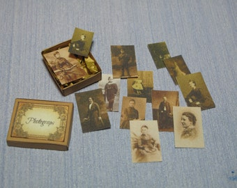 Gaël  Miniature vintage photographs box.  1 :12 Dollhouse Miniature Home Decor Accessory. Handmade miniatures