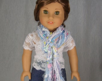 SKINNY STRING SCARF for American Girl Dolls - in pretty pink, aqua, purple novelty yarns - Perfect for Spring - Ships Free to United States