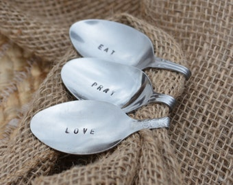 EAT, PRAY, LOVE Napkin Holder Vintage Hand Stamped Bent Spoons Set of 6-Perfect for the Holiday Table