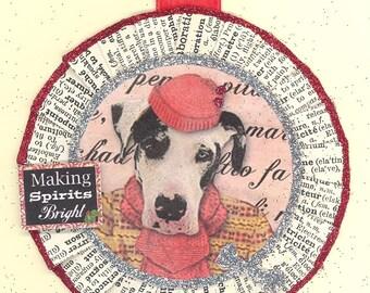 Great Dane Dog Christmas Ornament vintage style