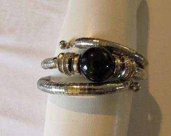 Vintage GYPSY CUFF BRACELET Silver  Black one size fits most