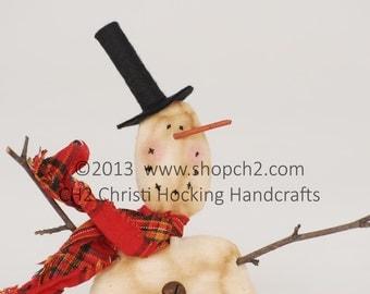 Snowman Ornament, Whimsical Primitive Snowman Ornament, Vintage Style Snowman Ornament, Christmas Ornament