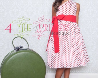 Red and white polka dotted dress  girls party dress  vintage inspired dress girls polka dotted dress  girls dress