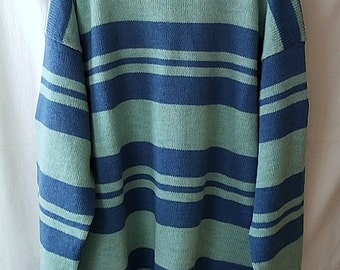 Men sweater wool blue striped XL hand knitted pullover long sleeves round neck, free shipping
