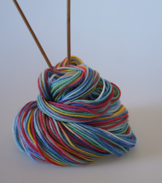 Hand dyed Yarn - DK Light Worsted weight Yarn 'Carnival' - Hand dyed yarn,8 ply, Superwash Merino