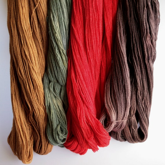 Natural Dyed Yarn,  Hand dyed yarn Wool Bamboo Silk - 4 ply Knitting Sock Yarn dyed with natural dyes