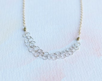 Strands of Sterling Silver on gold chain necklace