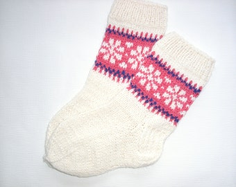 SALE! Hand Knitted Wool Socks -Colorful Socks for Women - Wool Socks Size Medium-US W7,EU38