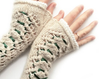 Knitted white lace fingerless mittens, fingerless gloves, beige fingerless, lace