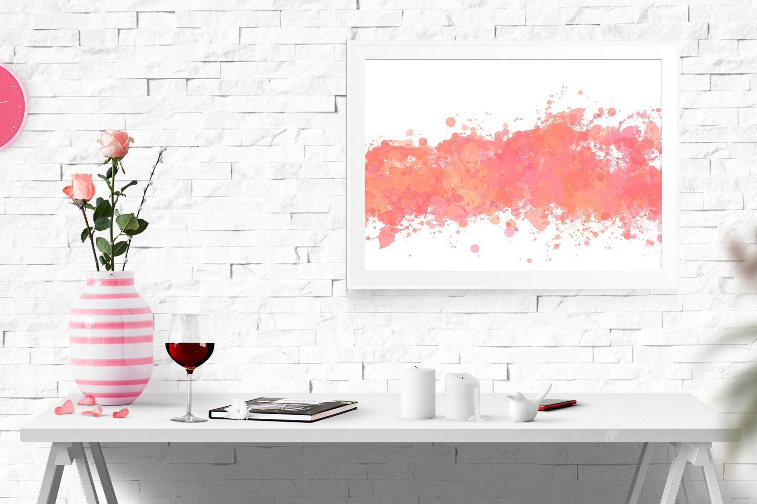 Watercolor Wall Art pink abstract coral abstract print peach watercolor wall