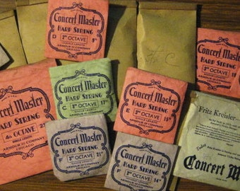 Concert Master Harp String...Assorted Original....15 Various Sizes And Ocaves In All