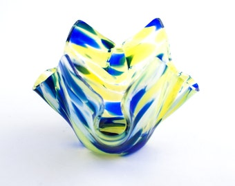 Fused Glass Candle Holder, Cobalt Blue and Yellow, Votive Candle, Tea Light Holder, Small Bud Vase, Unique Home Decor, Hostess Gift