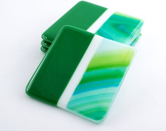 Handmade Coasters, Modern Coaster Set, Fused Glass, Unique Bar Accessories, Table Top Decorations, Living Room Decor, Cool Wedding Gifts