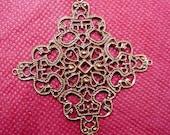8pc antique copper metal filigree center piece/wraps-9613