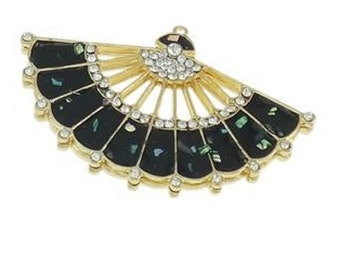 1pc 68x42mm gold finish fan with Shell and rhinestones-B33