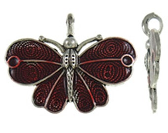 1pc antique silver with Enamel Butterfly Pendant-B63