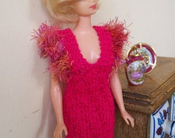 Barbie clothes - pink sparkly dress with fluffy sleeves
