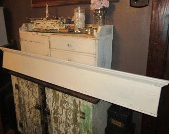 Wooden, Shabby, Chippy White Header or Pediment - Architectural Salvage