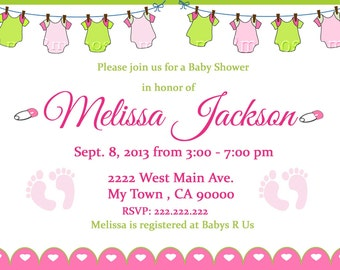 Baby Shower Clothes Line  Invitation 5x7 or 4x6 Printable Invitation Pink Clothesline Baby Shower
