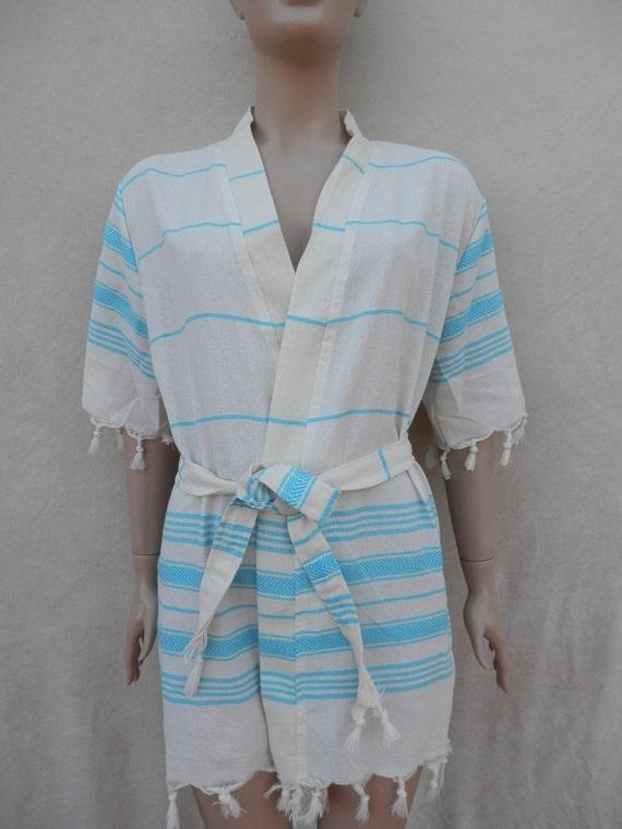 Peignoir court de kimono coton pestemal turcs style robe spa for Peignoir piscine