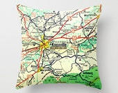 Knoxville Tennessee Map Pillow  Decorative Throw Pillow K town TN Map Decor Map Print  City Map art decor Knox City