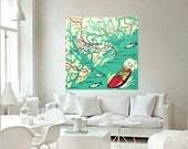 BEAUFORT South Carolina map art print, South Carolina Art, Beaufort SC beach house decor, Kids room, Kids map decor, square art, aqua red