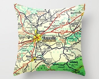 Knoxville Map Pillow Cover, Knoxville Tennessee Map, Throw Pillow, Knoxville Gift, K Town Accent Pillow TN Map Knoxville City Map Knox City