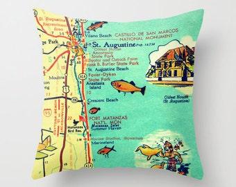 St Augustine Pillow, Florida Map Pillow, Vilano Crescent Beach House, Decorative Throw Pillow Cover, Florida Pillow, Map Decor, Beach Decor