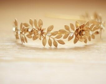 Bridal Gold Leaf Crystal Crown, Vintage Brass Bridal Crown, Bridal Headband