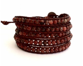 Leather Wrap Bracelet - Red Sesame Jasper Stones - Natural Brown Leather - Artisan Boho Chic